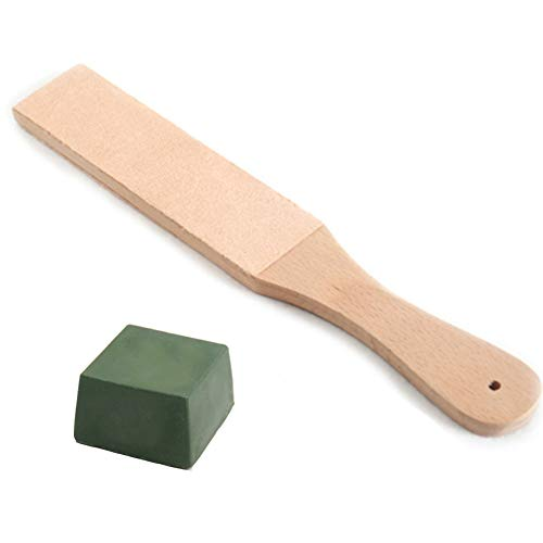 Lederen Paddle Strop Slijpen Strop,Dubbelzijdig Leer Brede Lederen Strop Board Paddle met Polijsten verbindingen, Lederen Honing Strop Blok Stropping