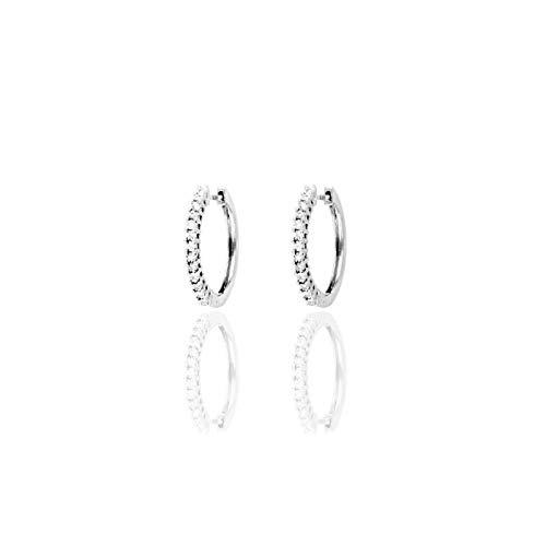 La Gioielleria - Pendientes de aro de oro blanco 750, diamantes de 0,9 quilates   Joyas para mujer de alta calidad   Certificado de garantía y autenticidad