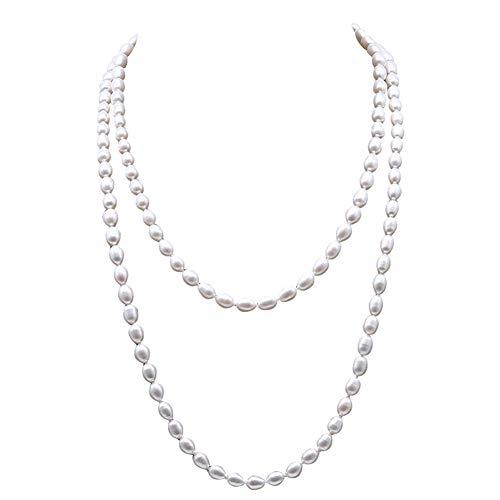JYX AAA echte perlenkette weiss perlenkette lang 6-7 mm ovale Süßwasser-Zuchtperlen, weiß, 121,9 cm