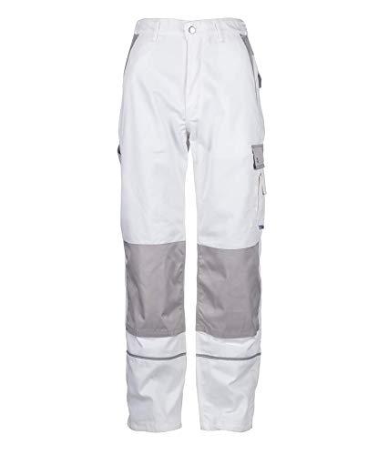 TMG® Lange Arbeitshose für Herren, Bundhose/Cargohose mit Kniepolstertaschen, Weiß 48