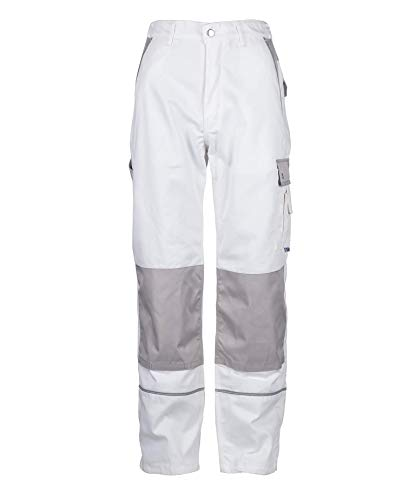 TMG® Herren Arbeitshose | Cargo Bundhose mit Kniepolster-Taschen & Reflektoren | Maler, Anstreicher, Tapezierer | Weiß 48