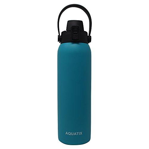 Aquatix FlipTop Sport Bottle AQ-FTP-TUQ-32 Aquatix FlipTop Double Walled Insulated Bottles, Stainless Steel, Turquoise