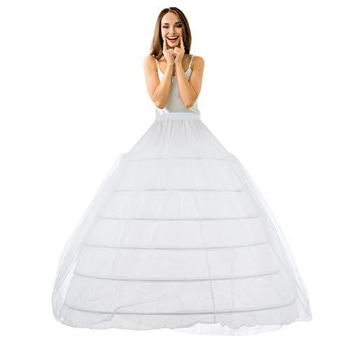 LONGBLE Reifrock Brautkleid Petticoat Unterrock, Tüll Reifrock Krinoline - 6 Reifen verstellbar Underskirt Damen lang Unterröcke für Hochzeitskleider Ballkleider Abendkleider Promkleider Weiß