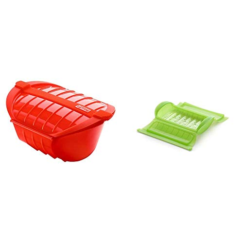 Lékué - Estuche hondo de vapor XL, capacidad de 1000 ml, para 3-4 personas, color rojo + Estuche de vapor con bandeja, 1-2 personas, Capacidad: 650 ml, Color Verde