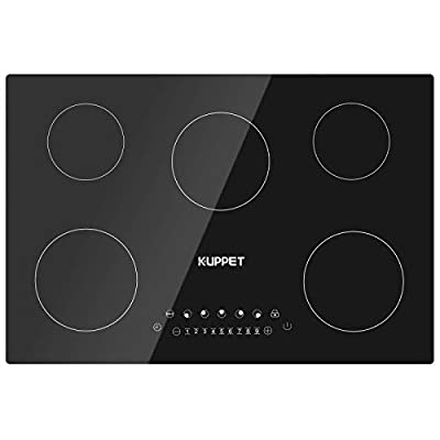 30 Inch Electric Cooktop, Kuppet Induction Cooktop Vertical with 5 Burners Vitro Ceramic Smooth Surface Glass, Smoothtop with 9 Heat Setting, 1-99 Munites Timer, Black