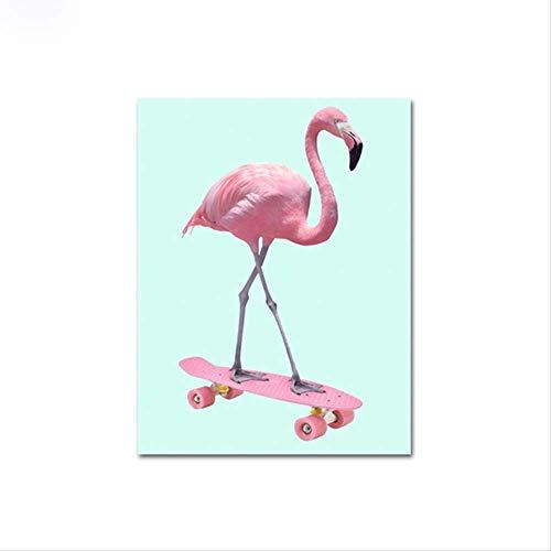 LWJZQT Leinwanddrucke Skateboard Flamingo Tiere Poster Und Drucke Wandkunst Leinwand Malerei Bilder Für Wohnzimmer Skandinavischen Wohnkultur 50×70cm