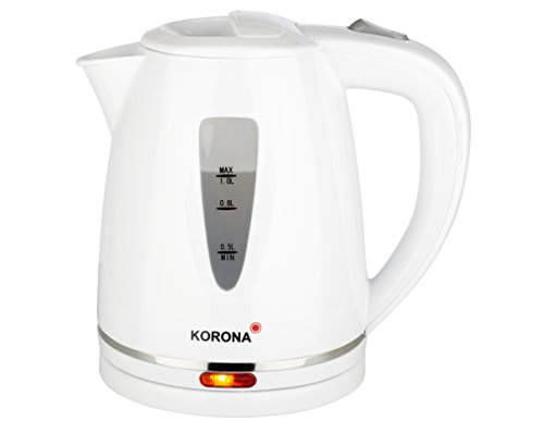 Korona weiss 20116 Wasserkocher mit 1 Liter Fassungvermögen, Kunststoff, Weiß