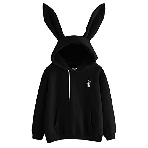 Sunhusing Ladies Cute Rabbit Ear Long Sleeve Hoodie Solid Color Embroidery Pullover Sweater (XL, Black)
