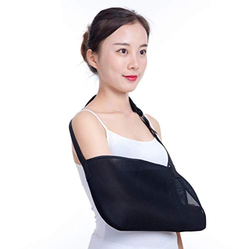 Heallily Arm Sling Shoulder Immobilizer Brace Adjustable Mesh Rotator Cuff Wrist Elbow Forearm Support Brace Strap (Black)