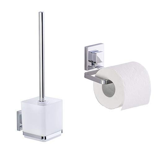 Wenko Vacuum-Loc Garnitur Quadro WC-Bürstenhalter Edelstahl rostfrei Glänzend 125 x 95 x 37 cm & Vacuum-Loc Toilettenpapierhalter Quadro WC-Rollenhalter Edelstahl rostfrei Glänzend 11 x 14 x 6 cm