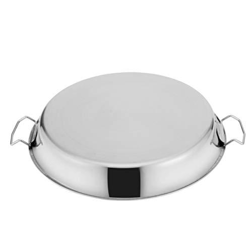 UPKOCH Edelstahl Abendessen Platten 40CM Runde Camping Platte Metall Dampfenden Teller Tablett Küche Platter mit Zwei Griffe für Nudel Lebensmittel Fleisch
