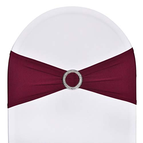 SweetEver Pack of 50 Stretch Spandex Chair Sashes for Wedding Party Banquet Decoration Elastic Bulk Chair Cover with Buckle Engagement Event Birthday Graduation Meeting Burgundy