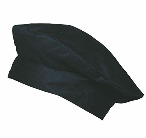 Schwarze Barett-Kochmütze, französische Kochmütze , 95 Grad waschbar