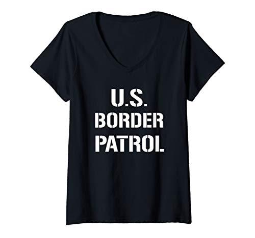 Womens US Border Patrol Customs Immigration Halloween Costume V-Neck T-Shirt