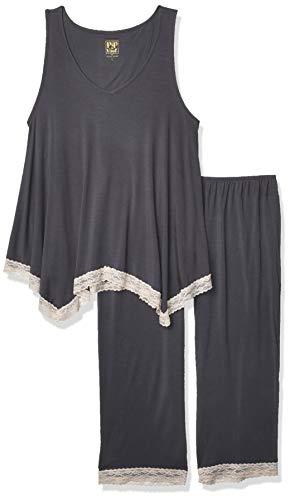 Rosie Pope Damen Pip N Vine by Top & Pant Pyjama Set, Black Pearl, Large