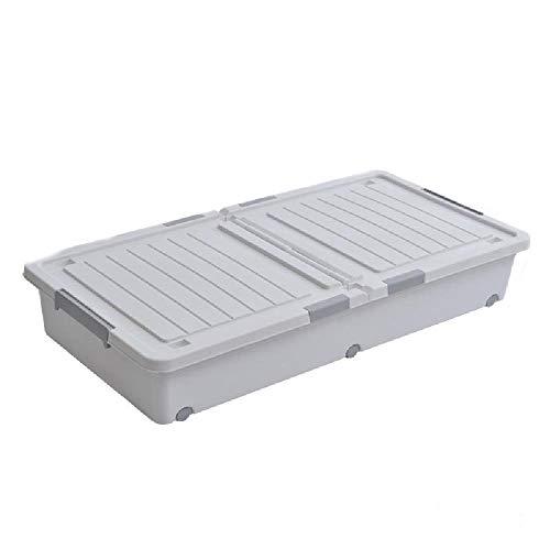 Under sänglåda med remskivor, under sänglåda, plast under sänglåda, klädförvaringslåda,Grey