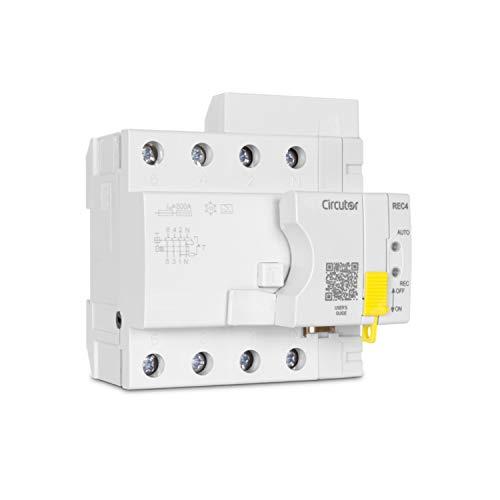 Interruptor diferencial de 4 polos autorearmable, asociado a un motor inteligente de reconexión, modelo REC4-4P-40-300, 8,1 x 9,1 x 11,5 centímetros, color gris (referencia: P26F23.)