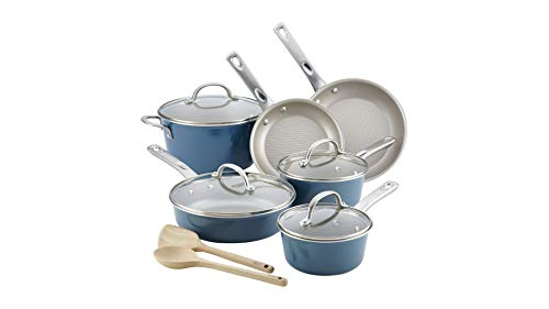 Ayesha Curry 10766 Porcelain Enamel Nonstick Cookware Set44; Twilight Teal44; 12 Piece