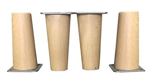 Patas de madera de Haya, con placa de montaje instalada. Pack de 4 unidades de patas para muebles, 8,10,12,15,20.cm alto, patas de madera cónicas rectas. (4 unidades 12 cm, Natural)