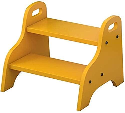 HYYDP Otomanas y reposapiés Taburete de Pouffe Taburete bajo Taburete tapizado Paso de niño Escalera de pasos de niños, Taburete de madera 2 Paso con manijas Blanco Pedal ancho, 2 niveles Escalada Esc