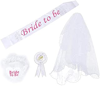 3PCS Bride To Be Wedding Set White Lace Tulle Rosette Mantilla Badge Sash Garter Wedding Decoration Party Supplies