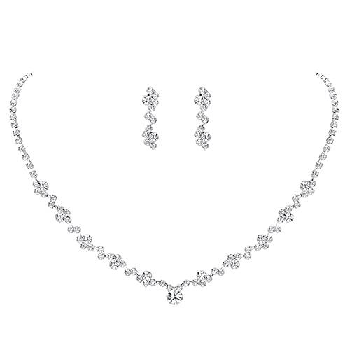 ZBOMR Conjunto de Joyas de Cristal,Conjunto de joyas de 2 piezas Conjunto...
