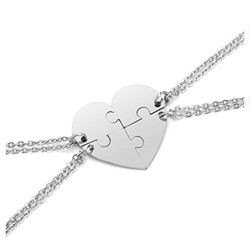 PiercingJ 4pcs Personalized Custom Initial Name Heart Puzzle Necklace Stainless Steel Matching Family Best Friends BFF Jigsaw Piece Pendant Stitching Necklace Soul Sister Gift
