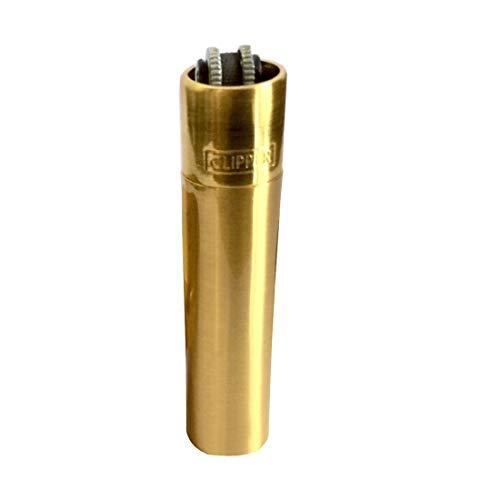 Clipper Metall Gas-Feuerzeug Gold mit SOFORTGRAVUR +VORSCHAU: Gravur inklusive (Gasfeuerzeug nachfüllbar)
