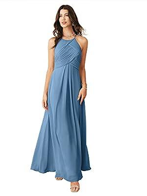 Alicepub Chiffon Dusty Blue Bridesmaid Dresses Long Formal Party Dress for Women Prom Evening Halter, US4