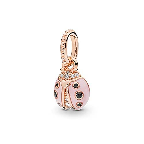 925 Cuentas De Plata Para Tía Lucky Pink Ladybug Colgante Encanto Moda Mujer Pandora Collar Regalo Diy Joyería Regalo De Vacaciones Para Novia