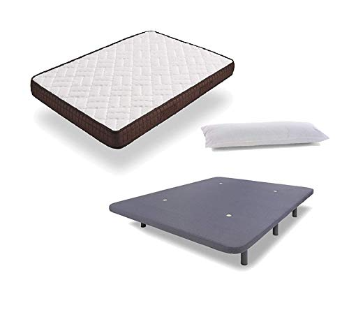HOGAR24 ES Cama Completa - Colchón Viscobrown Reversible + Base Tapizada 3D con 5 Barras Transversales Color Gris + 6 Patas de 26cm + Almohada de Fibra, 135x190 cm