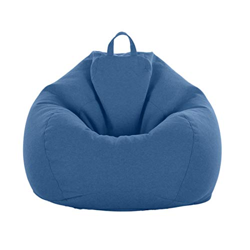 AGVER Lounger Sofas Cover without Filler Storage Bean Bag Chair Made of Linen And Cotton Fabric Complies with The Ergonomic Design,Dark Blue,M