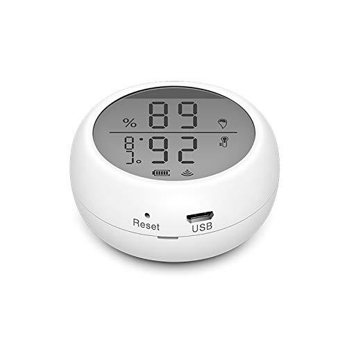 Sensor inalámbrico inteligente de temperatura y humedad compatible con Alexa Google Assistant, higrómetro termómetro inteligente WiFi para la habitación del hogar