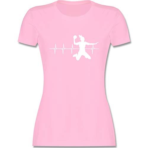 Handball - Handball Herzschlag für Damen - L - Rosa - t-Shirt Handball Damen - L191 - Tailliertes Tshirt für Damen und Frauen T-Shirt