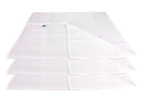kela 3er Set Baumwoll-Geschirrtücher Madlene (50x72 cm) in Weiß aus Waffelpique mit Aufhänglasche