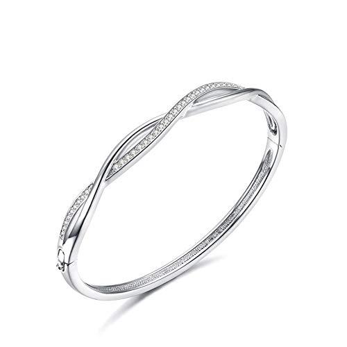 Jösva Silber Damen Armband Armreif, Webart Knot Twist Armbänder mit Weiß Zirkonia, 18K Weißgold Plattiert Hochzeit Verlobung Allergenfrei Luxus-Schmuck für Braut Brautjungfer