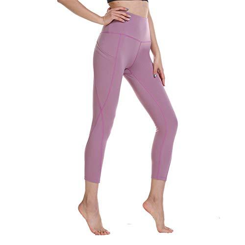 QHYAH High Waist Yoga-Hosen mit Taschen, Trainingshose für Frauen, Yoga Gamaschen mit Taschen Bauch-Steuer Workout Gamaschen,Lightred,S