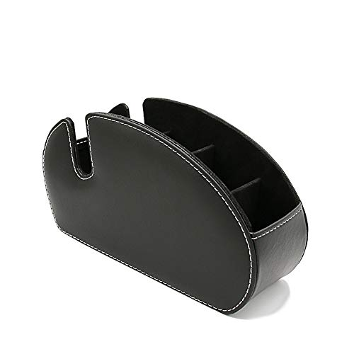 ペン立て 眼鏡スタンド リモコンラック 化粧品収納 小物入れ 分格?? 北欧 おしゃれ 卓上多機能収納 PUレザー 収納ボックス (B-ブラック)