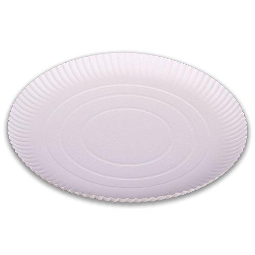 50x Pappteller, Einwegteller, Hartpapier, Weiß, rund, unbeschichtet, Ø 32 cm