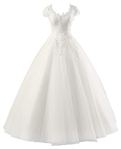 Brautkleider Lang Prinzessin Hochzeitskleider Spitzen Standesamtkleid A-Linie Tüll Strand Brautmode Elfenbein 34