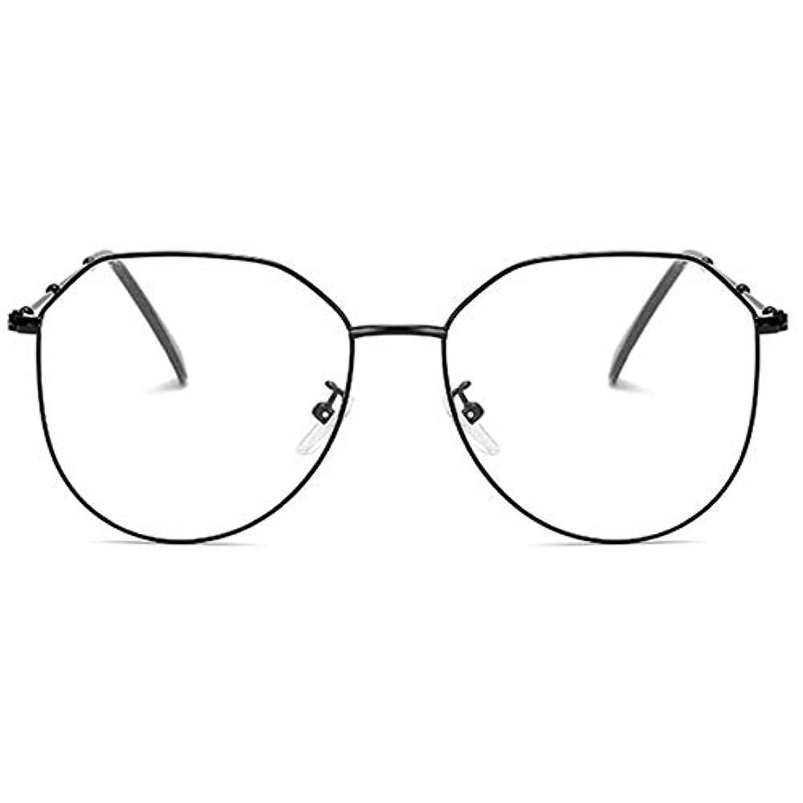 オークション波紋ボランティア放射線防護アンチブルーライト男性女性メガネ軽量金属フレームプレーンミラーレンズアイウェアメガネ-ブラック