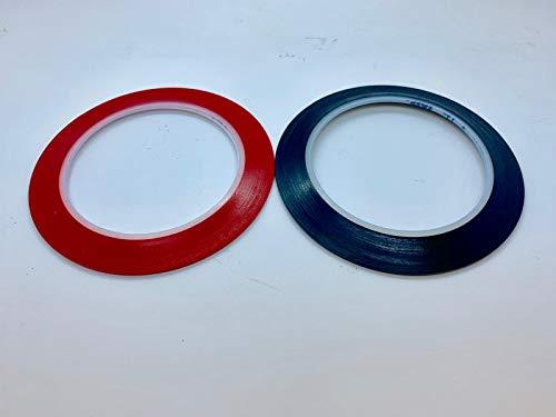 Olax 3M Abklebebänder Klebeband für Lackierung Auto, Ausrichten, Feine Linie, Lackieren, 33M (2mm Rot+2mm Schwarz)