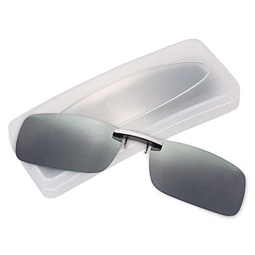 クリップオン サングラス 偏光サングラス クリップ UV400 夜間運転 偏光スポーツサングラス 偏光レンズ メガネの上からつけられる 付きサングラス 跳ね上げ 偏光クリップ眼鏡 紫外線カット 前掛けクリップ式サングラ ス 収納ケース付き 超軽量 (グリー