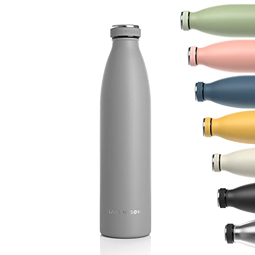 Lars NYSØM Borraccia Termica 1 litro in Acciaio Inox   Bottiglia isolata Senza BPA 1000ml   Bottiglia d'Acqua a Tenuta stagna per Sport, Bicicletta, Cane, Bambino, Bambini