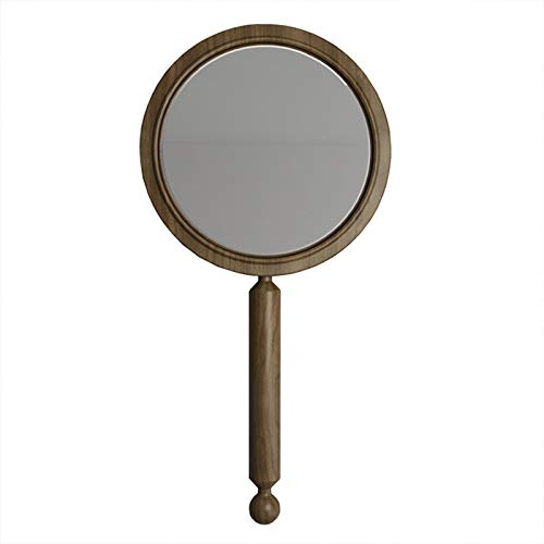 Handheld Mirror with Handle, Cosmetic Salon Makeup HD Mirror Creative Wooden Frame, Salon Hairdresser Plain Mirror Retro Style, Portable Vanity Mirror for Travel, Camping, Home,Brown