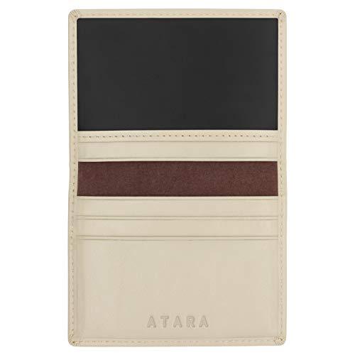 Tarjetero Plegable de Atara: Cuero auténtico, 4 Bolsillos + 1 Bolsillo con Ventana y con tecnología antirrobo RFID, Beige