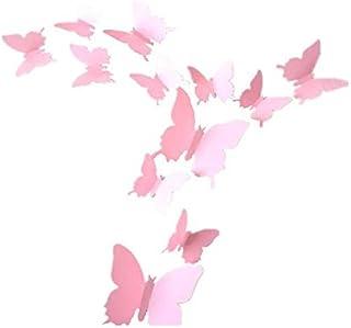 12pcs 3D pink Butterfly Sticker Decal Magnet Wall Stickers Art Design Home Decoration,DO071