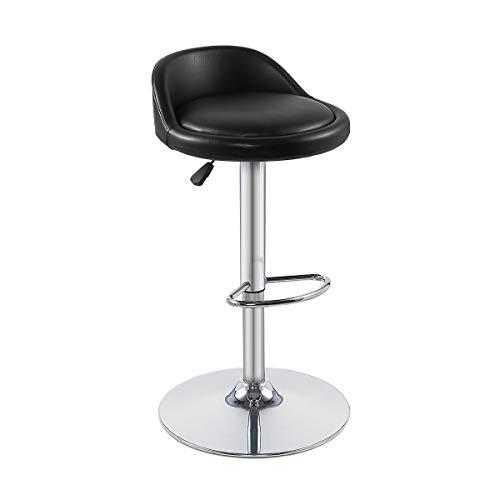 Grace&Grace - Taburete de bar con respaldo y reposapiés, neumático ajustable y giratorio, altura resistente para cocina, tienda, comedor, sala de estar, cafetería (taburete de bar, negro)