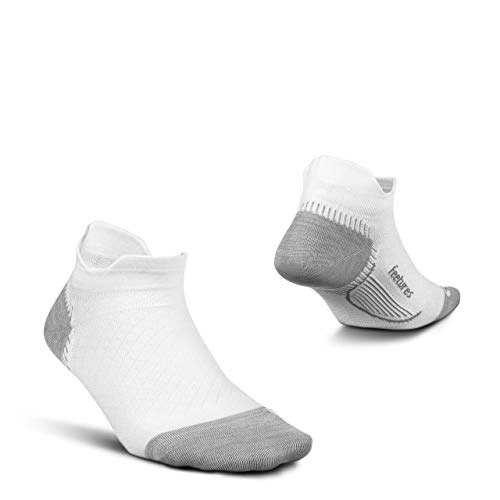 Feetures Plantar Fasciitis Relief Sock - Ultra Light - No Show Tab - White - Size Mittel