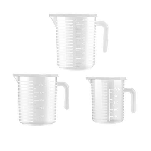 Messbecher-Set aus Kunststoff, 3 Stück, für Küche, Backen, Kochen (250 ml, 500 ml, 1000 ml)